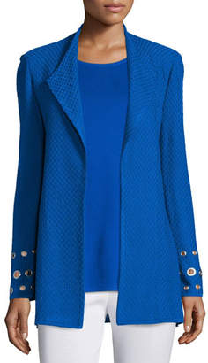 Misook Long Knit Jacket with Grommet Detail, Plus Size