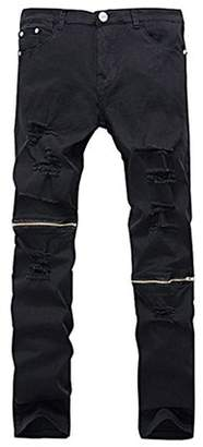 Hemiks Men's Ripped Skinny Distressed Destroyed Slim Fit Jeans Pencil Pants Zipper on knees