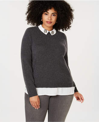 Charter Club Plus Size Pure Cashmere Layered-Look Sweater