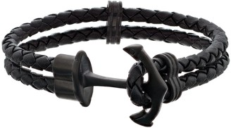 Lynx Men's Braided Black Leather Anchor Bracelet