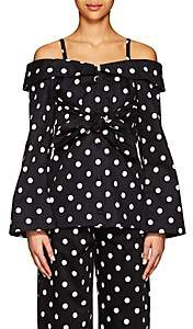 Marianna Senchina Women's Polka Dot Cotton Off-The-Shoulder Blouse - Black