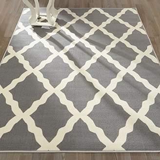 Ottomanson Glamour Collection Contemporary Moroccan Trellis Design Kids Rug (Non-Slip) Kitchen and Bathroom Mat Rug