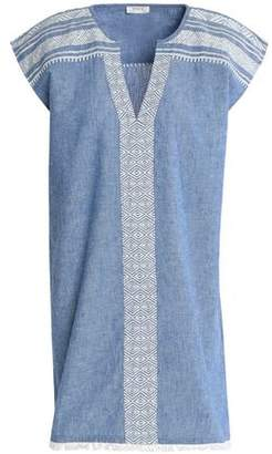 Soft Joie Embroidered Cotton And Linen-Blend Chambray Mini Dress