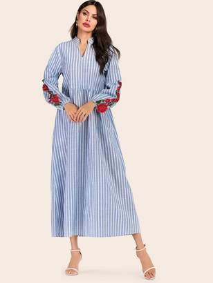 Shein Striped Flower Embroidered Notched Dress
