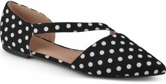 Brinley Co. Womens Cross Strap Pointed Toe Flats