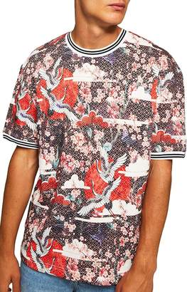 Topman Japanese Tile Print Short Sleeve Sweatshirt