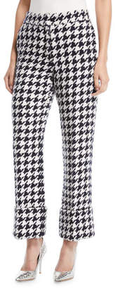 Oscar de la Renta Cropped Straight-Leg Houndstooth Tweed Pants
