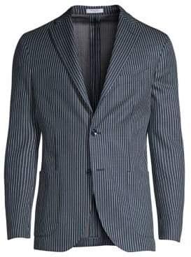 Boglioli Stripe Knit Jersey Chambray Jacket