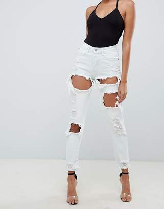 Missguided bleached washed mom jeans