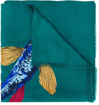 Paul Smith embroidered fish scarf