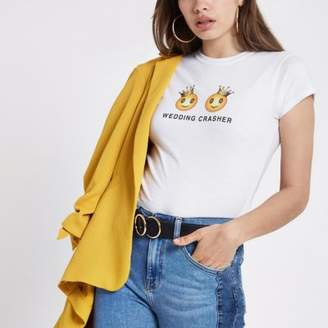 River Island Womens White 'wedding crasher' fitted T-shirt