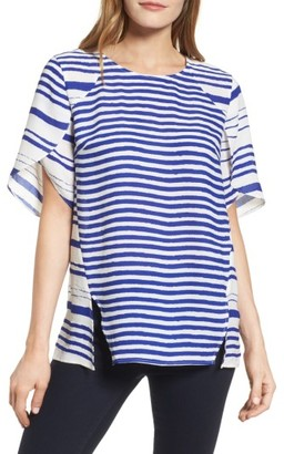 Women's Chaus Tulip Sleeve Stripe Blouse $79 thestylecure.com