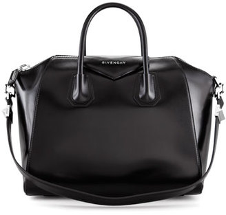 Givenchy Antigona Medium Shiny Leather Satchel Bag, Black $2,435 thestylecure.com