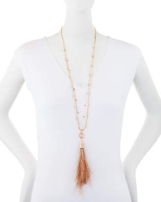 Lydell NYC Feather Tassel & Stone Necklace