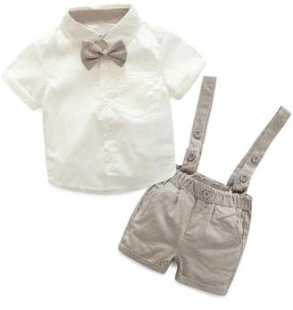Goodtrade8 Toddler Baby Boy Suspender Short Set Bow T-Shirt+Pants Gentle Suit Short Sleeve Outfit Clothes