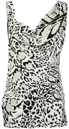 Roberto Cavalli leopard cowl neck blouse