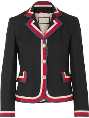 Gucci Striped Silk And Wool-blend Crepe Blazer - Black