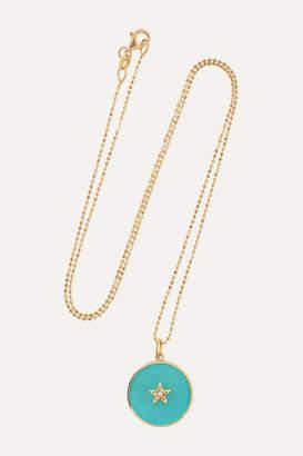 Andrea Fohrman New/ Full Moon 18-karat Gold, Enamel And Diamond Necklace - one size