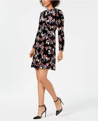 Nine West Floral-Print Mock-Neck Dress