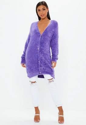 Missguided Purple Longline Fluffy Cardigan
