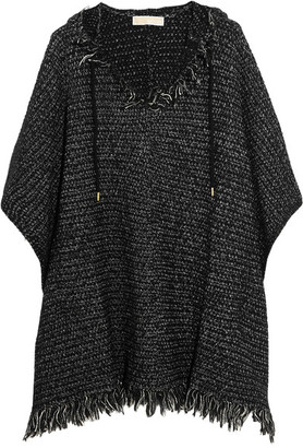 MICHAEL Michael Kors - Fringed Knitted Hooded Poncho - Black $175 thestylecure.com