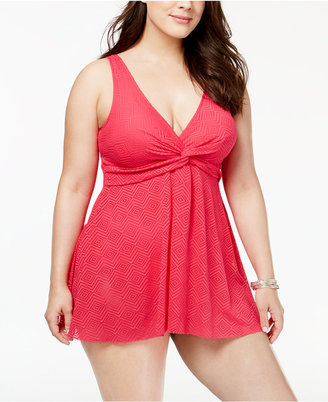 Swim Solutions Plus Size Twist-Front Crochet Tummy-Control Swimdress $124 thestylecure.com