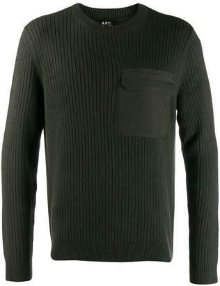A.P.C. flap-pocket knit sweater