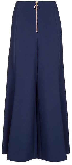 Topshop Topshop Zip frill palazzo trousers