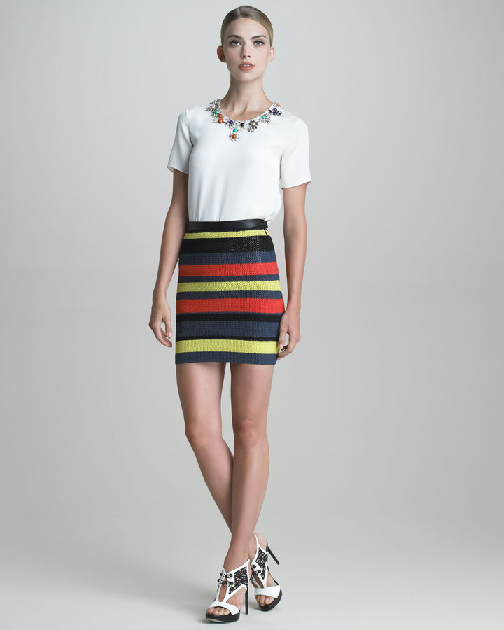 Jason Wu Crochet-Striped Pencil Skirt