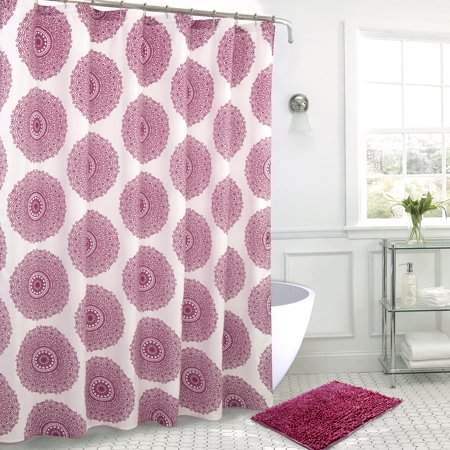 RT Designers Collection Medallion Bath Mat and Shower Curtain Set w/ Hooks in Rose