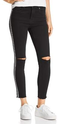 Blank NYC BLANKNYC Racing-Stripe High-Rise Cropped Skinny Jeans in Black with White Stripe - 100% Exclusive