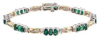 14K Emerald & Diamond Link Bracelet