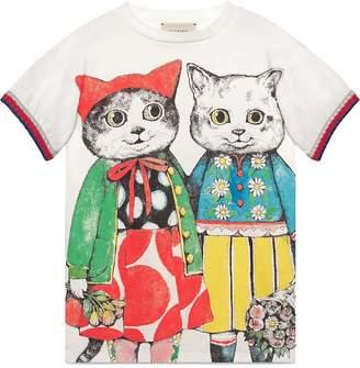 Gucci Kids Children's dress with kitten friends print