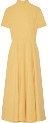 Emilia Wickstead - Miranda Stretch Wool-crepe Dress - Marigold $2,510 thestylecure.com