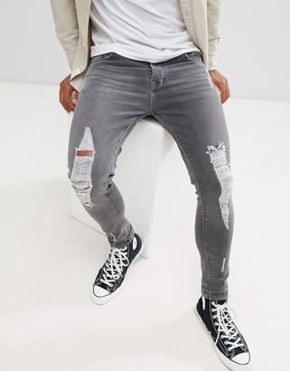 Brave Soul Skinny Fit Light Gray Wash Jeans