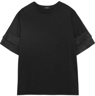 CLU - Pleated Organza-trimmed Silk-jersey T-shirt - Black $245 thestylecure.com