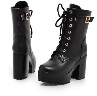 ffec9fd4c9c Susanny Women s Autumn Winter Chunky High Heel Lace Up Buckle Strap  Motorcycle Combat Ankle Booties Shoes