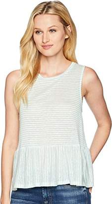 Three Dots Women's Mojave Stripe Flounce Tank Top