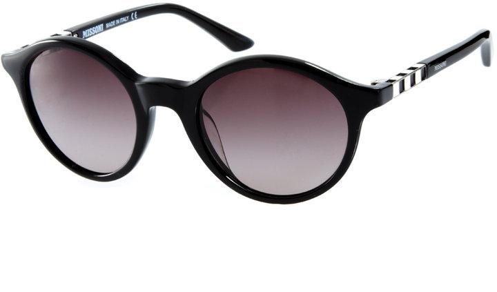 Missoni Round Lens Sunglasses With Enamel Stripe Detail