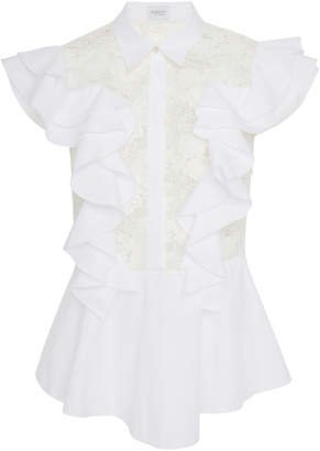 Giambattista Valli Ruffled Cotton-Poplin and Lace Top