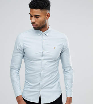 Farah TALL Skinny Fit Button Down Oxford Shirt In Light Blue