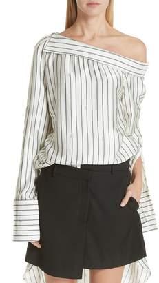 Monse Off the Shoulder Pinstripe Silk Blouse