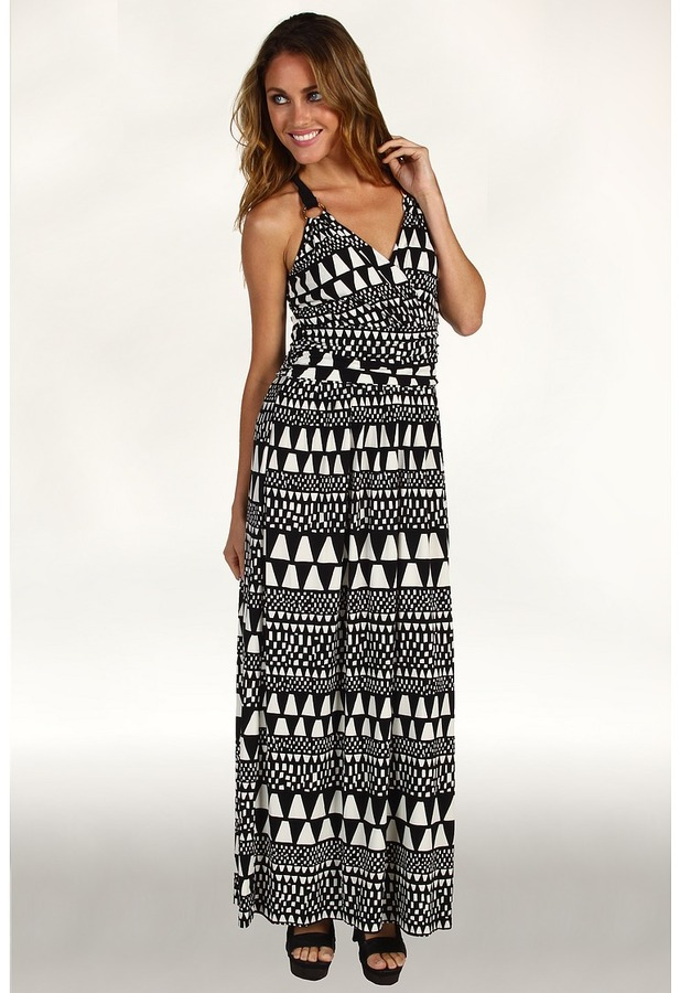 Vince Camuto Buenos Aires Geo Stripe Maxi Dress (Rich Black) - Apparel