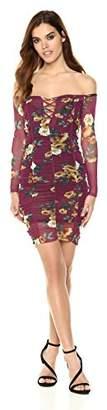 Velvet Rope Women's Longsleeved Printed Floral Mesh Ruched Front Criss Cross Mini Dress