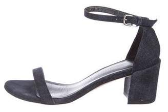 Stuart Weitzman Denim Ankle-Strap Sandals