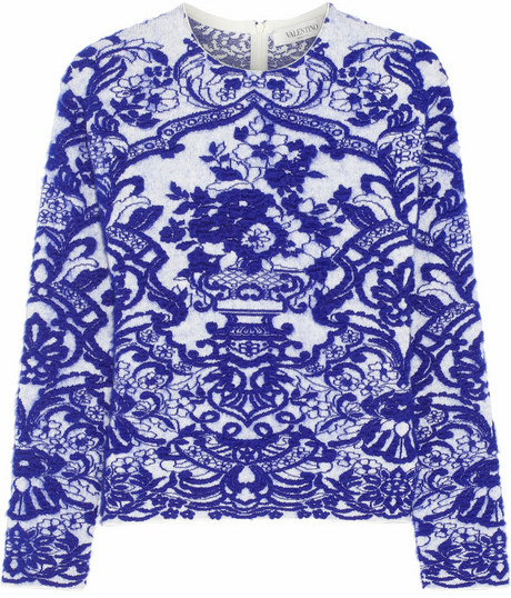 Valentino Intarsia stretch-knit sweater