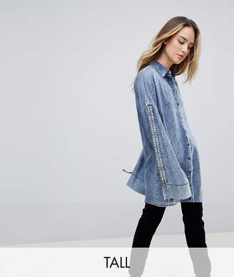 Noisy May Tall Acid Wash Longline Denim Shirt