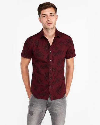 Express Slim Burgundy Floral Short Sleeve Shirt