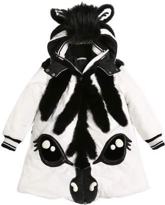 Dolce & Gabbana Nylon & Faux Fur Zebra Puffer Coat