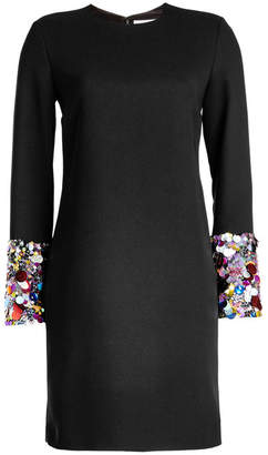 Victoria Victoria Beckham Crepe Dress with Sequin-Embellished Cuffs